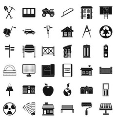 Construction icons set simple style vector