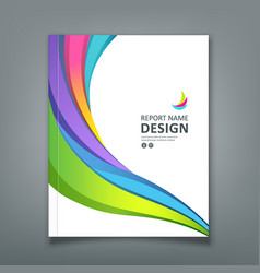 Cover report colorful paper curve design vector