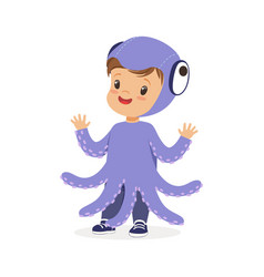 Cute happy little kid dressed as a purple octopus vector