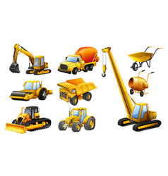 different types of construction trucks vector image