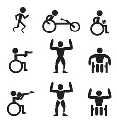 disable handicap sport icons runner bodybuilding vector image
