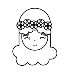 Figure happy face woman with flower in the head vector