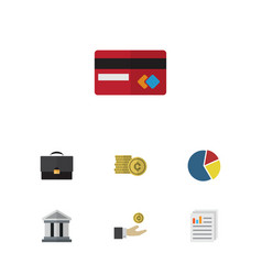 Flat icon gain set of document graph payment and vector