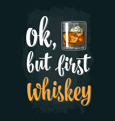 glass whiskey vintage engraving vector image