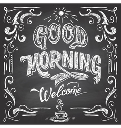 Good Morning cafe chalkboard vector image