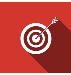 Icon target with dart isolated with long shadow vector image