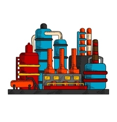 Industrial factory or plant with pipes vector image vector image