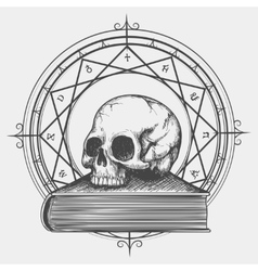 Magic book sketch with skull vector
