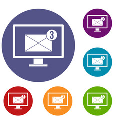 Monitor screen with email sign icons set vector