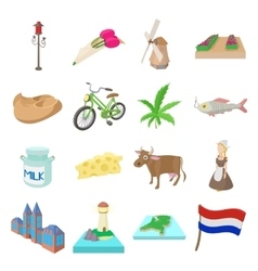Netherlands icons set cartoon style vector