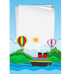 Paper template with balloons in sky vector