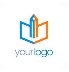 pencil write book logo vector image vector image