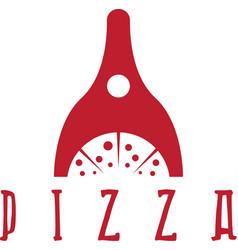 pizza oven negative space design template vector image