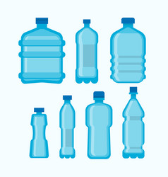 plastic water bottles set isolated on white vector image vector image