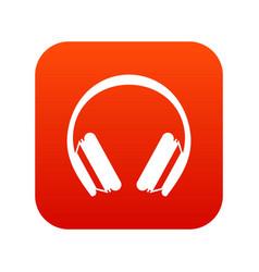 Protective headphones icon digital red vector