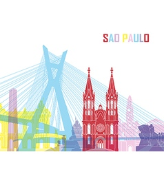Sao Paulo skyline pop vector image vector image