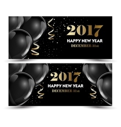 Set of luxury Christmas New Year banners with vector image