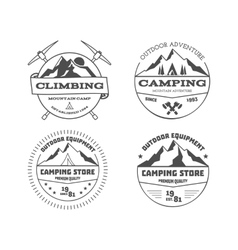 Set of monochrome outdoor camping adventure and vector