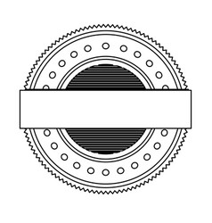 Silhouette heraldic circular shape stamp with vector