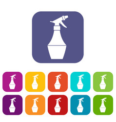 Spray bottle for flower icons set vector