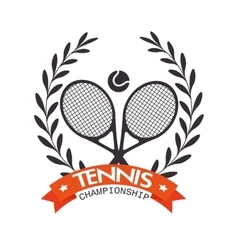 Tennis championship rackets ball label graphic vector
