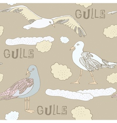 Vintage Seagulls Background vector image vector image