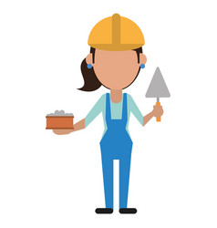 woman construction with brick and spatula vector image