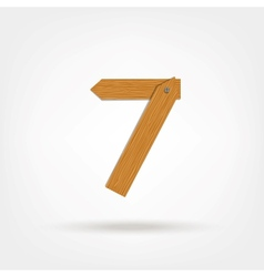Wooden Boards Number Seven vector image vector image