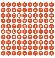 100 garden stuff icons hexagon orange vector