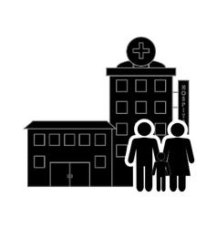 Hospital and family pictogram icon vector