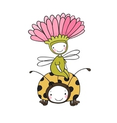 Flower fairy and a ladybug vector