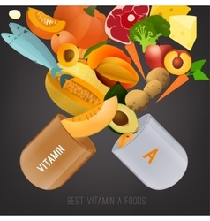 Vitamin a in food vector