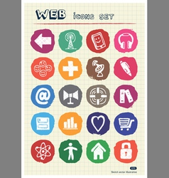 Internet icons set drawn by chalk vector image