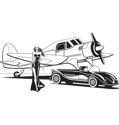 Movie star with retro plane and classic car vector image
