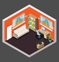 Living room isometric interior vector