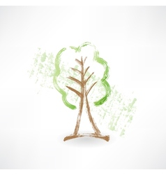 Green tree grunge icon vector