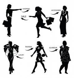 Fashion shopping woman silhouettes vector