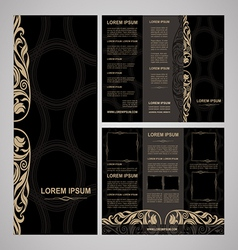 Brochure template vintage style black vector