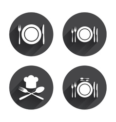 Plate dish with forks and knifes icon chief hat vector