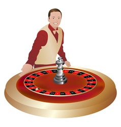 Croupier with roulette wheel vector