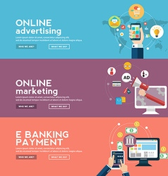 Online business banners set with advertising vector