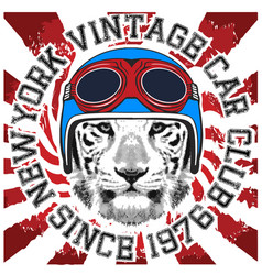 Animal tee vintage graphic design helmet vector