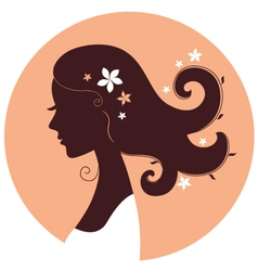 Beautiful spring girl silhouette in circle vector image