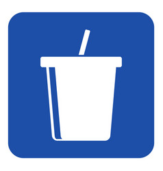 Blue white info sign - cold drink with straw icon vector