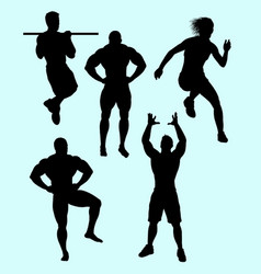 Body building and sport action silhouette vector