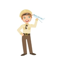 Boy Dressed As Pilot Holding Toy Plane vector image