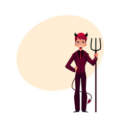 Business man dressed as devil having horns tail vector