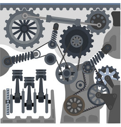 car engine mechanism automobile motor vector image