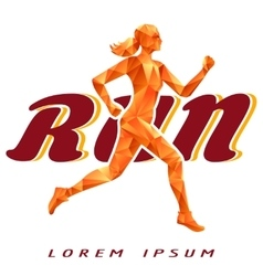 Colorful logotype with running woman vector