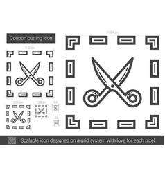 coupon cutting line icon vector image vector image